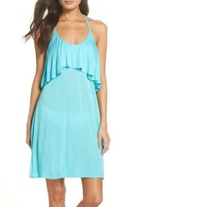 Leith Ruffle Cover Up Dress Open Back Blue Teal